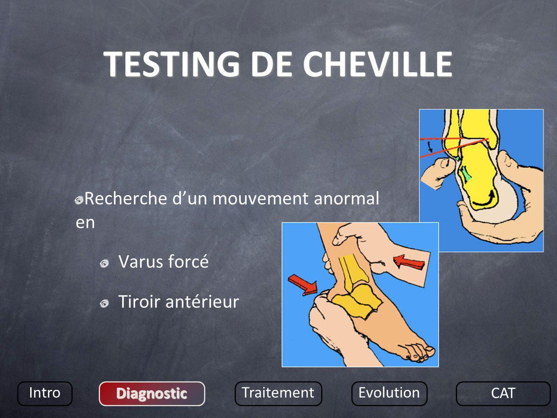 TESTING DE CHEVILLE Recherche d'un mouvement anormal en Varus forcé