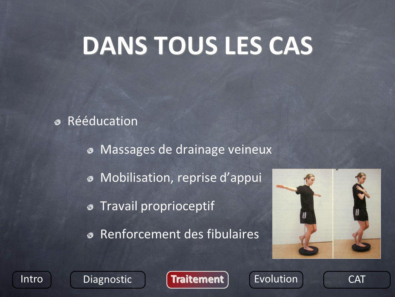 DANS TOUS LES CAS Rééducation Massages de drainage veineux
