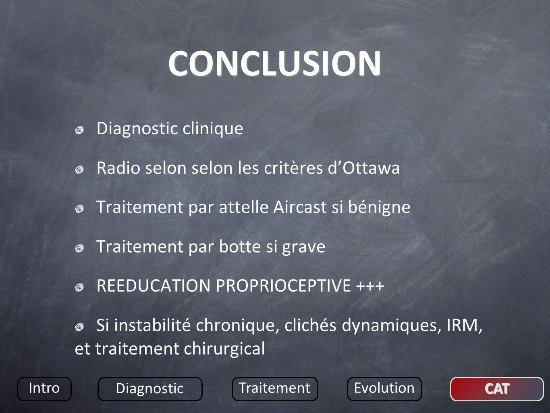CONCLUSION Diagnostic clinique Radio selon selon les critères d'Ottawa