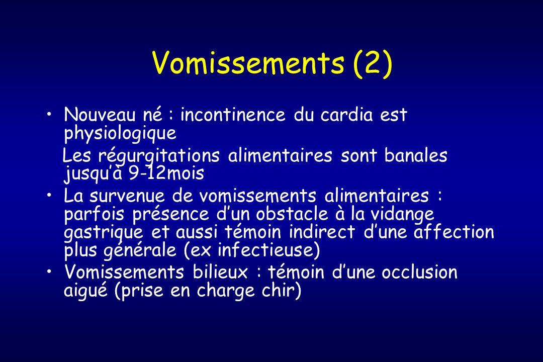 Vomissements (2) Nouveau né : incontinence du cardia est physiologique