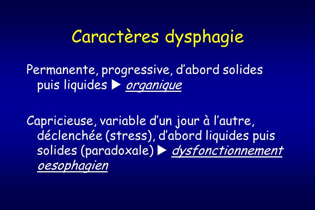 Caractères dysphagie Permanente, progressive, d'abord solides puis liquides  organique.