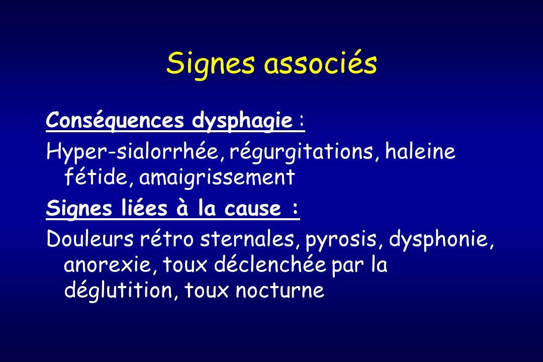 Signes associés Conséquences dysphagie :