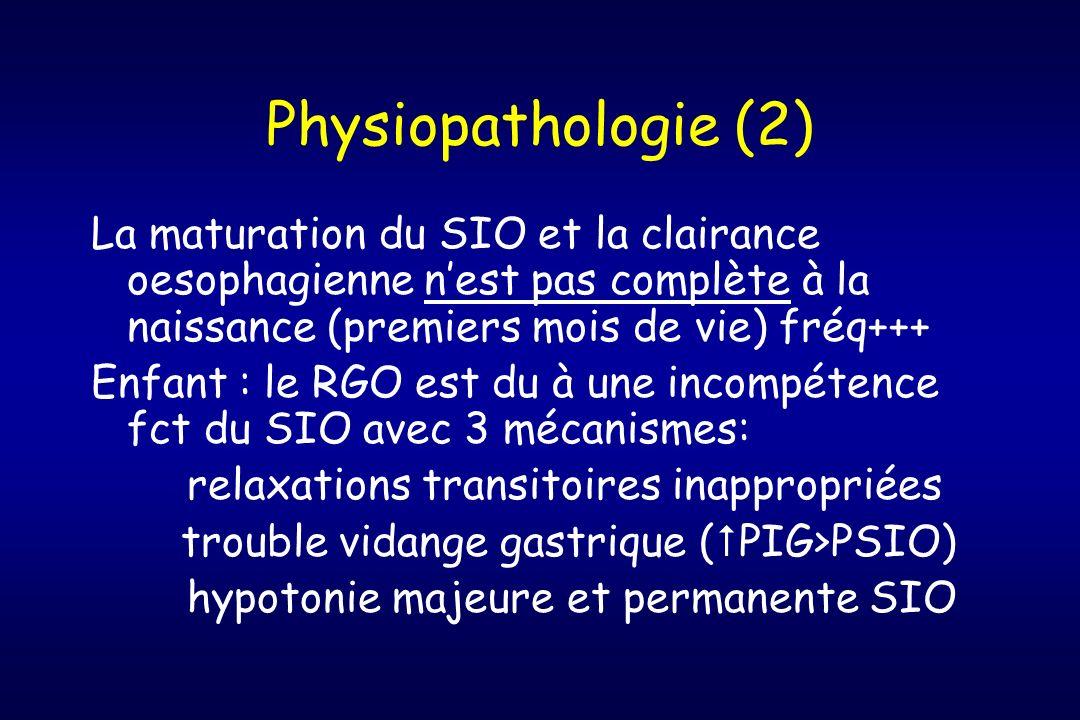 Physiopathologie (2) La maturation du SIO et la clairance oesophagienne n'est pas complète à la naissance (premiers mois de vie) fréq+++