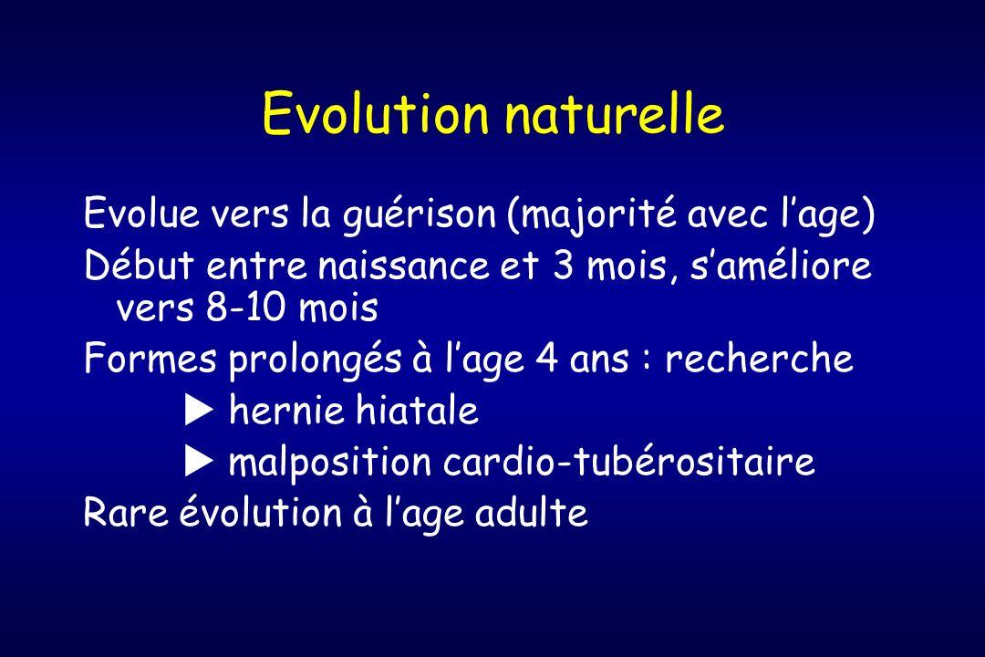 Evolution naturelle Evolue vers la guérison (majorité avec l'age)