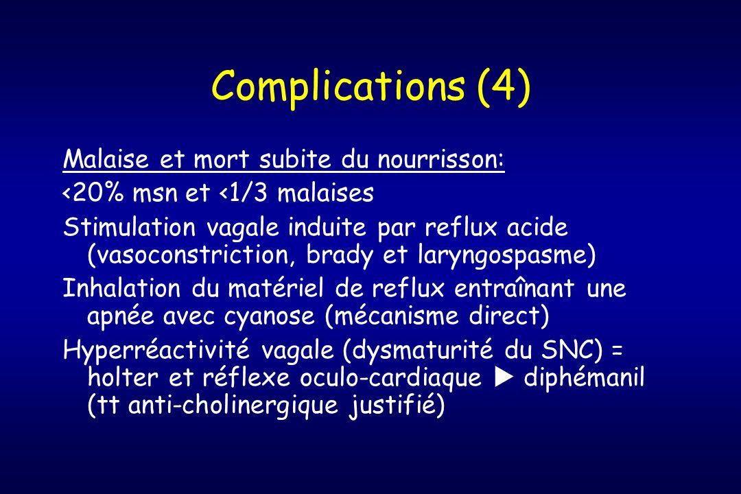 Complications (4) Malaise et mort subite du nourrisson: