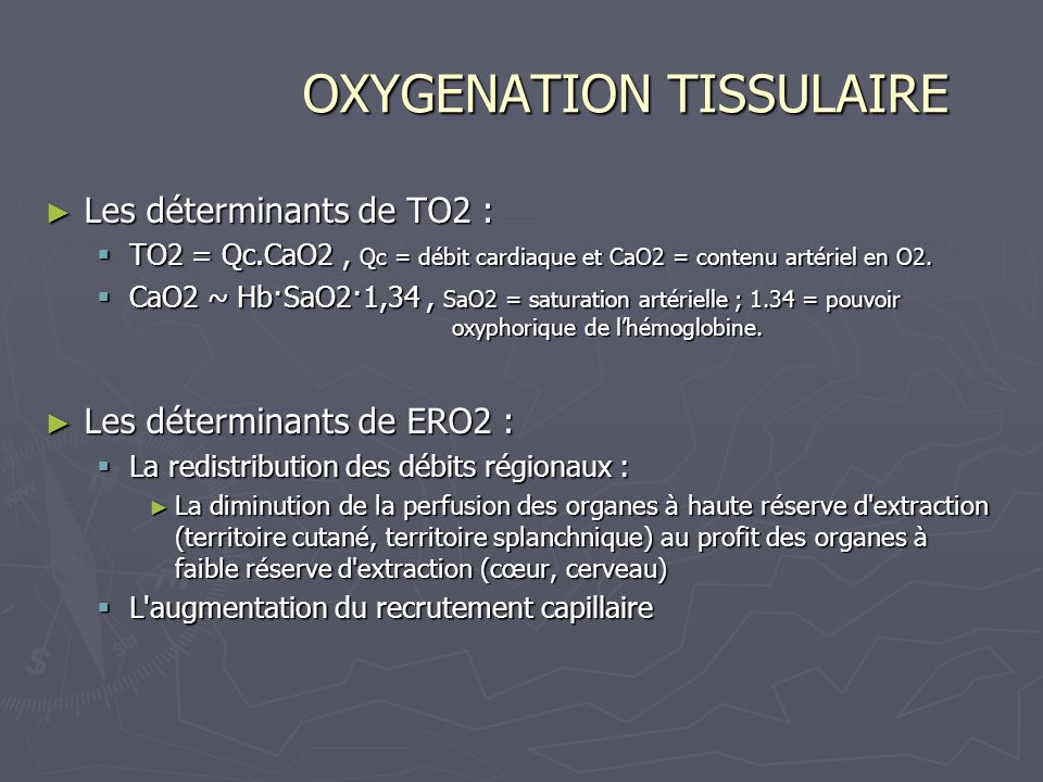 OXYGENATION TISSULAIRE