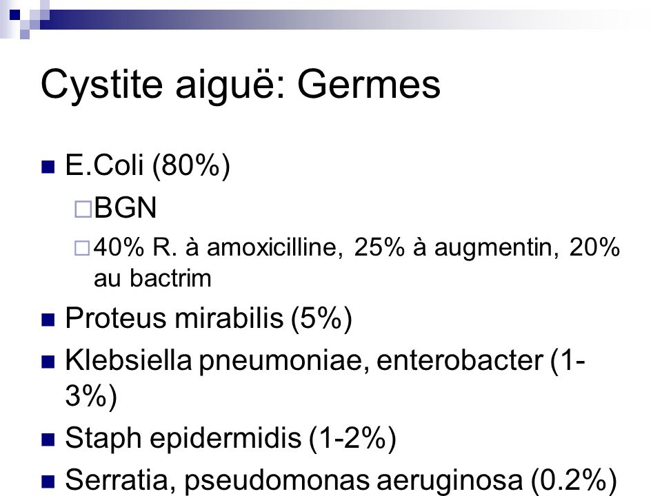 Cystite aiguë: Germes E.Coli (80%) BGN Proteus mirabilis (5%)