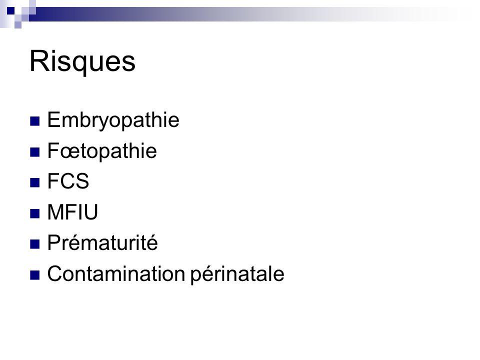 Risques Embryopathie Fœtopathie FCS MFIU Prématurité