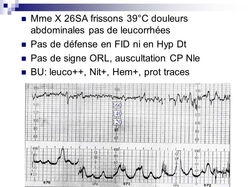 Mme X 26SA frissons 39°C douleurs abdominales pas de leucorrhées