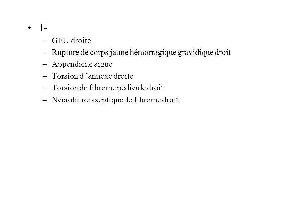 1- GEU droite Rupture de corps jaune hémorragique gravidique droit