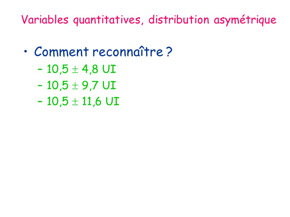 Variables quantitatives, distribution asymétrique