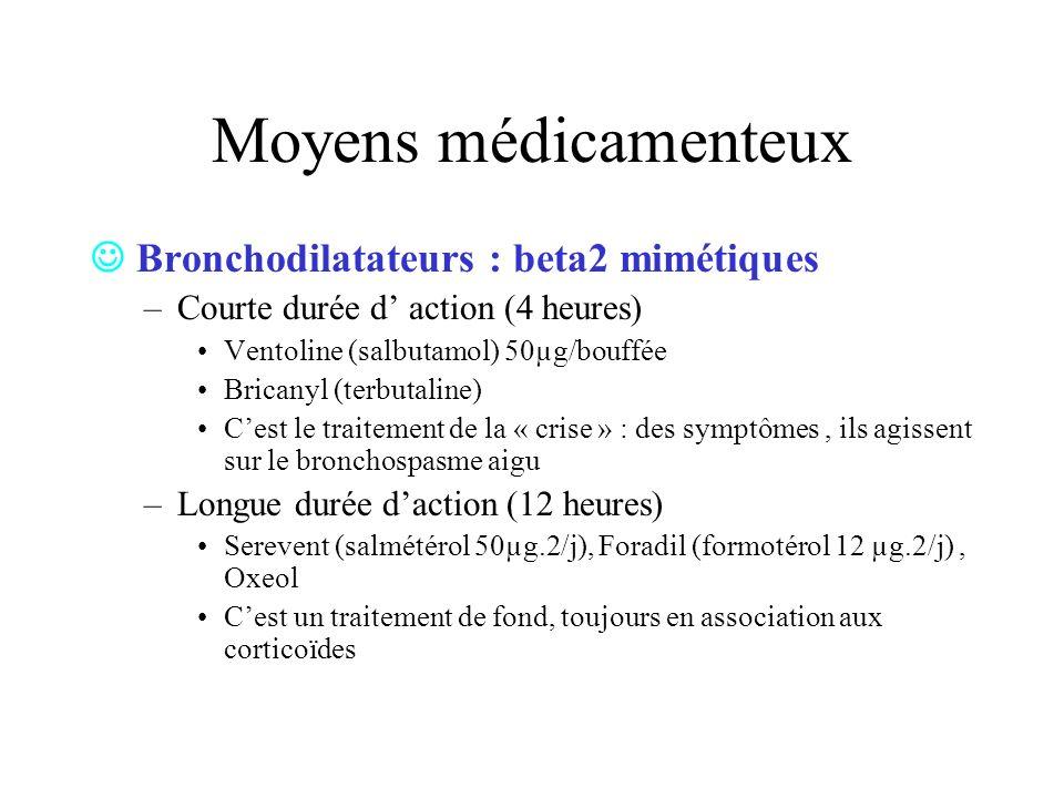 Moyens médicamenteux  Bronchodilatateurs : beta2 mimétiques