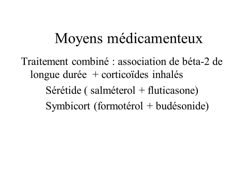 Moyens médicamenteux Traitement combiné : association de béta-2 de longue durée + corticoïdes inhalés.