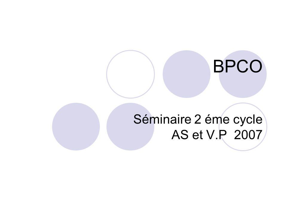 Séminaire 2 éme cycle AS et V.P 2007