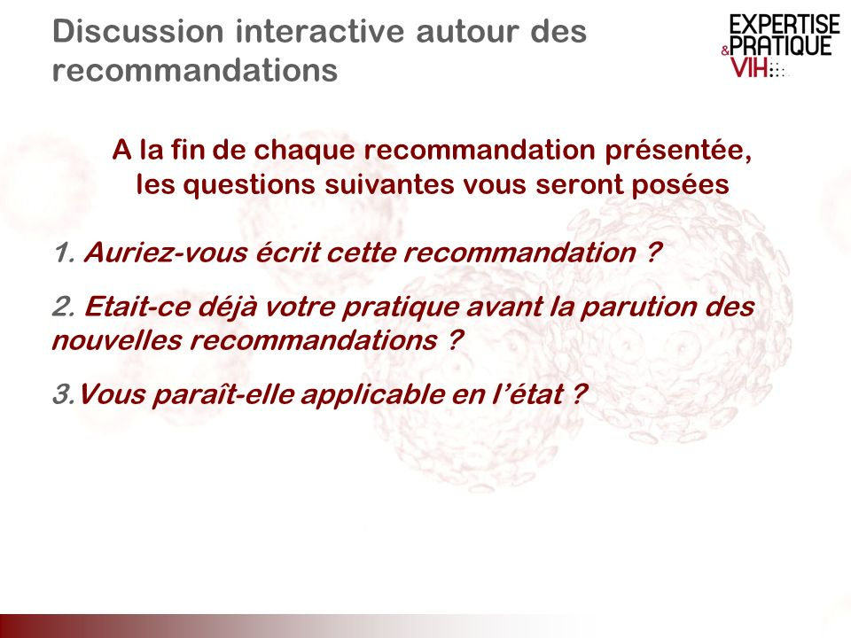 Discussion interactive autour des recommandations