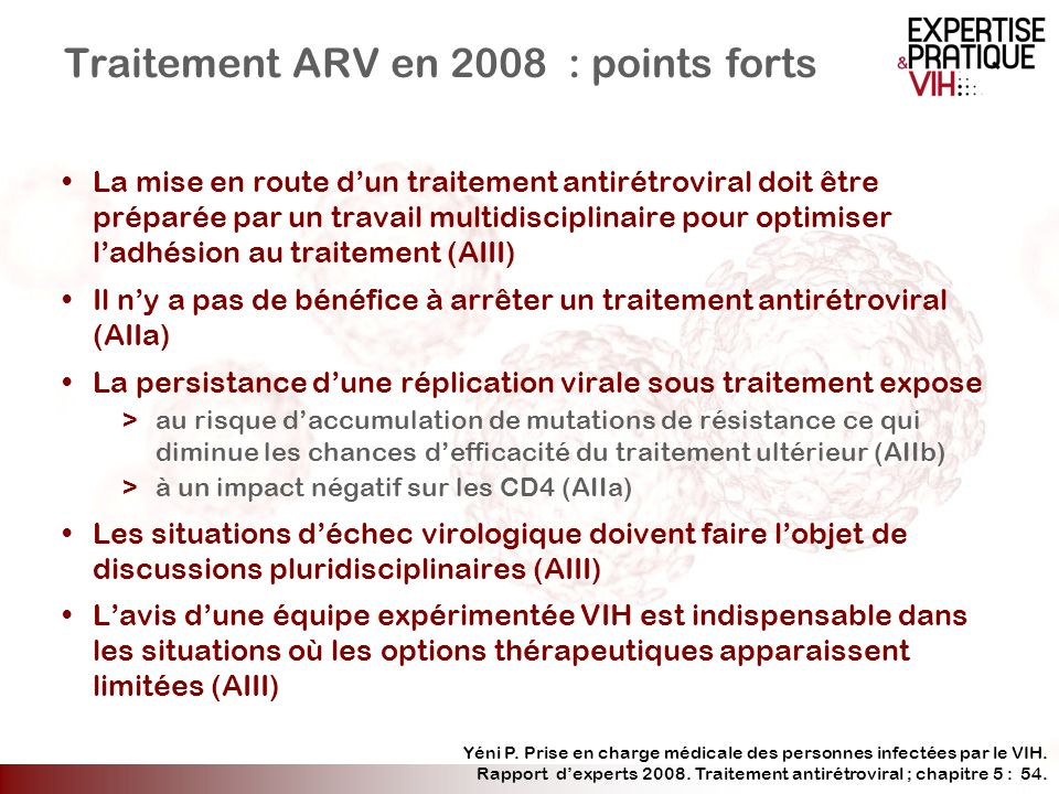 Traitement ARV en 2008 : points forts