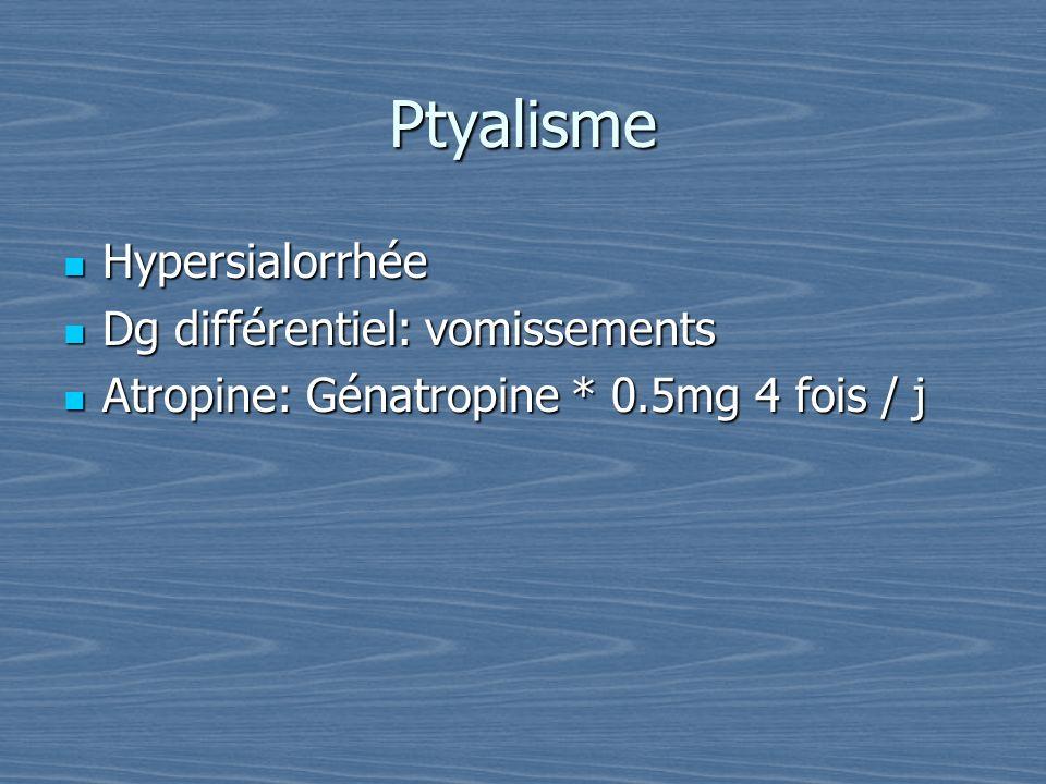 Ptyalisme Hypersialorrhée Dg différentiel: vomissements
