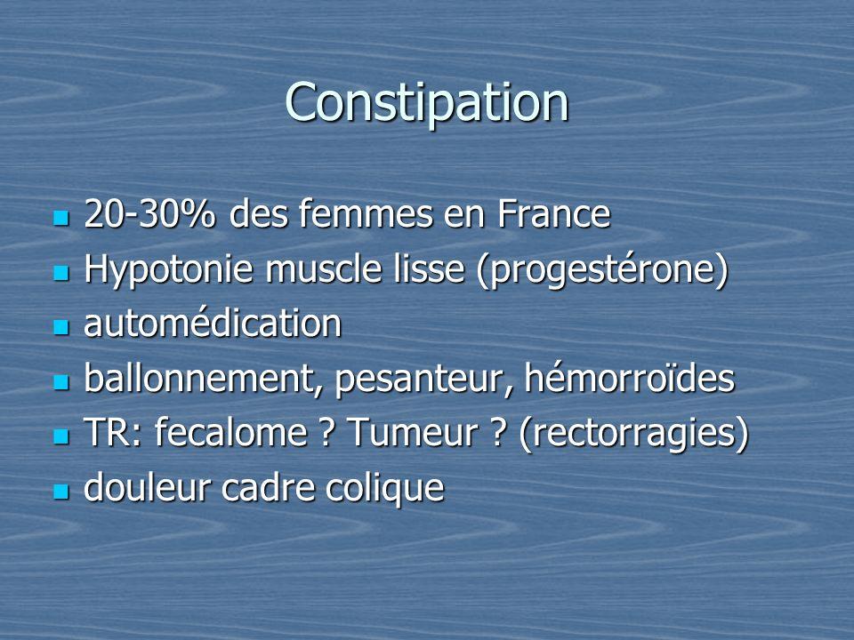Constipation 20-30% des femmes en France
