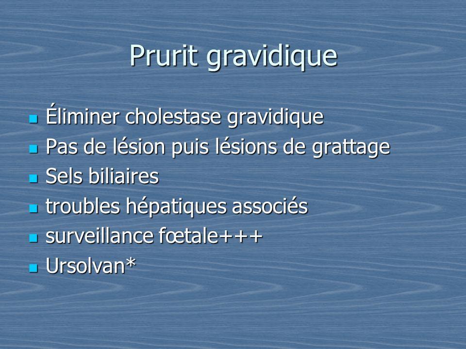 Prurit gravidique Éliminer cholestase gravidique