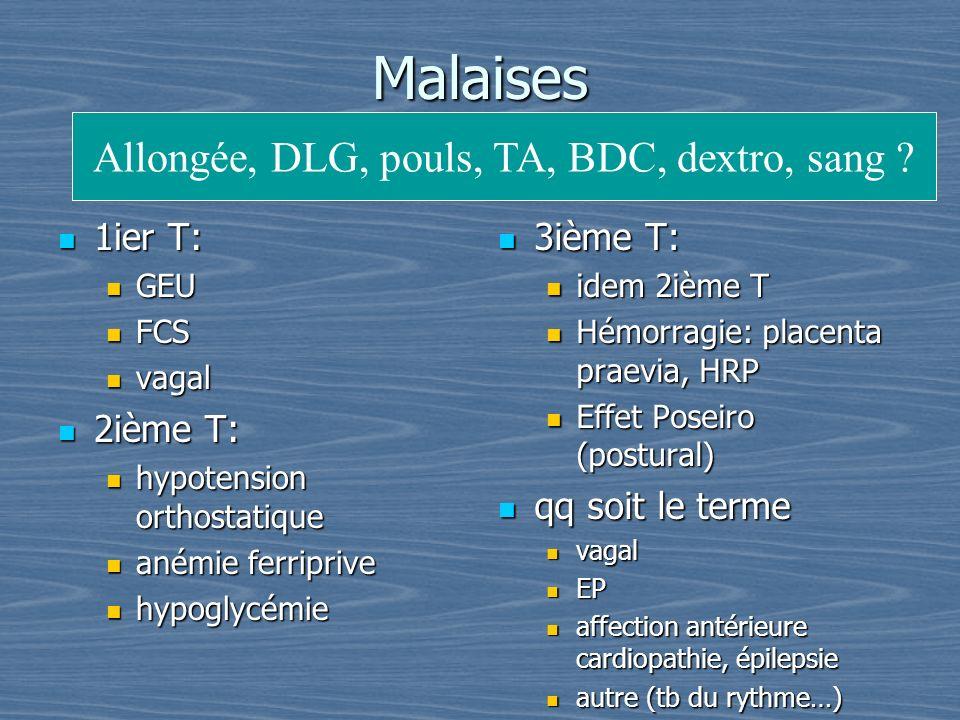 Allongée, DLG, pouls, TA, BDC, dextro, sang