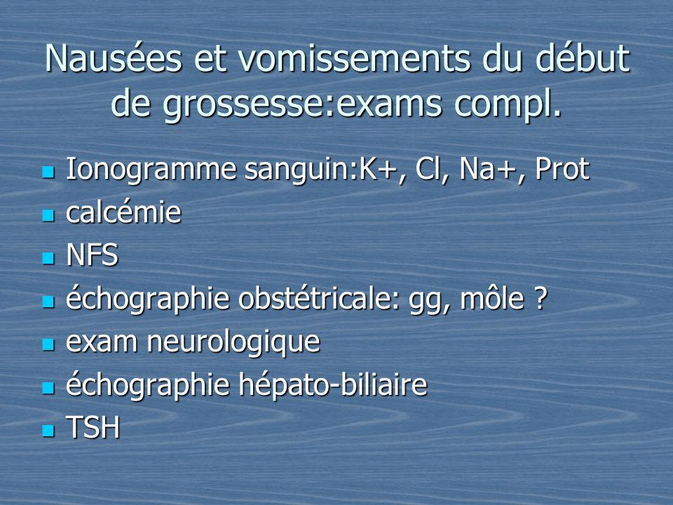 Nausées et vomissements du début de grossesse:exams compl.