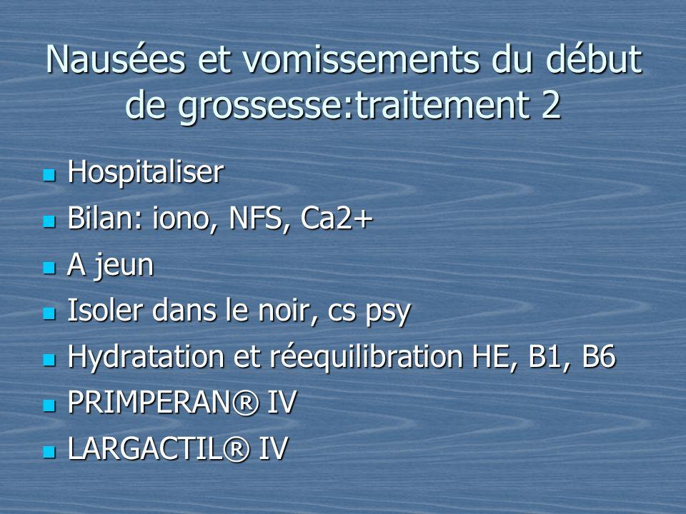 Nausées et vomissements du début de grossesse:traitement 2