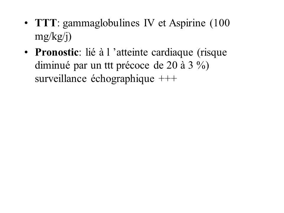 TTT: gammaglobulines IV et Aspirine (100 mg/kg/j)