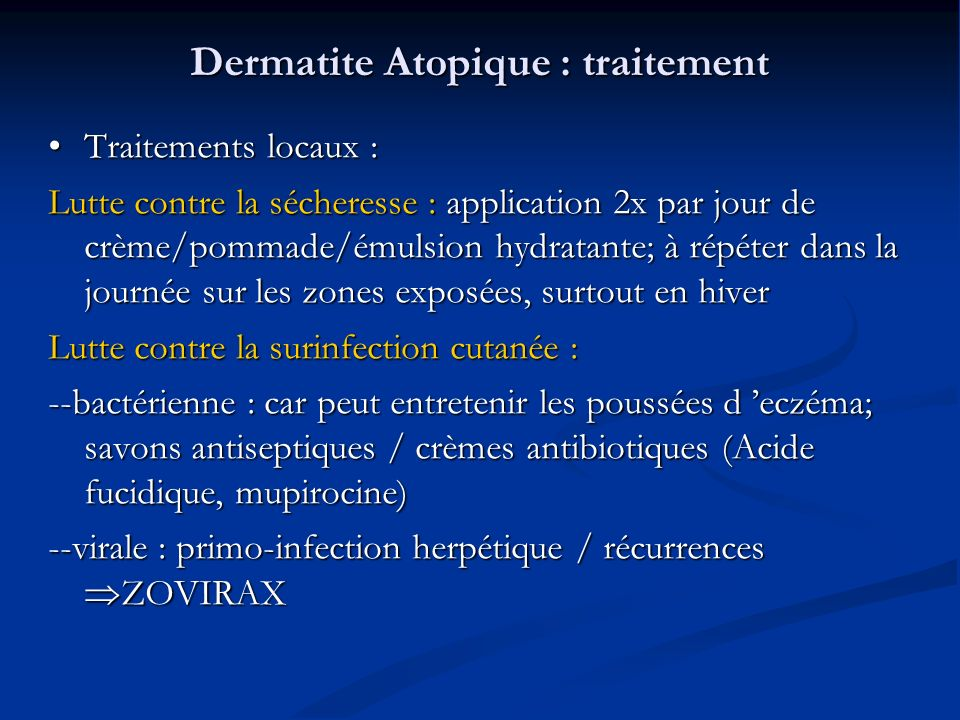 Dermatite Atopique : traitement