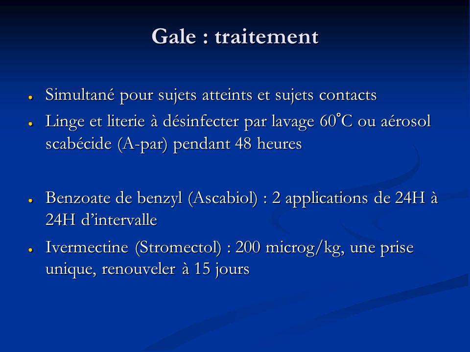 Gale : traitement Simultané pour sujets atteints et sujets contacts