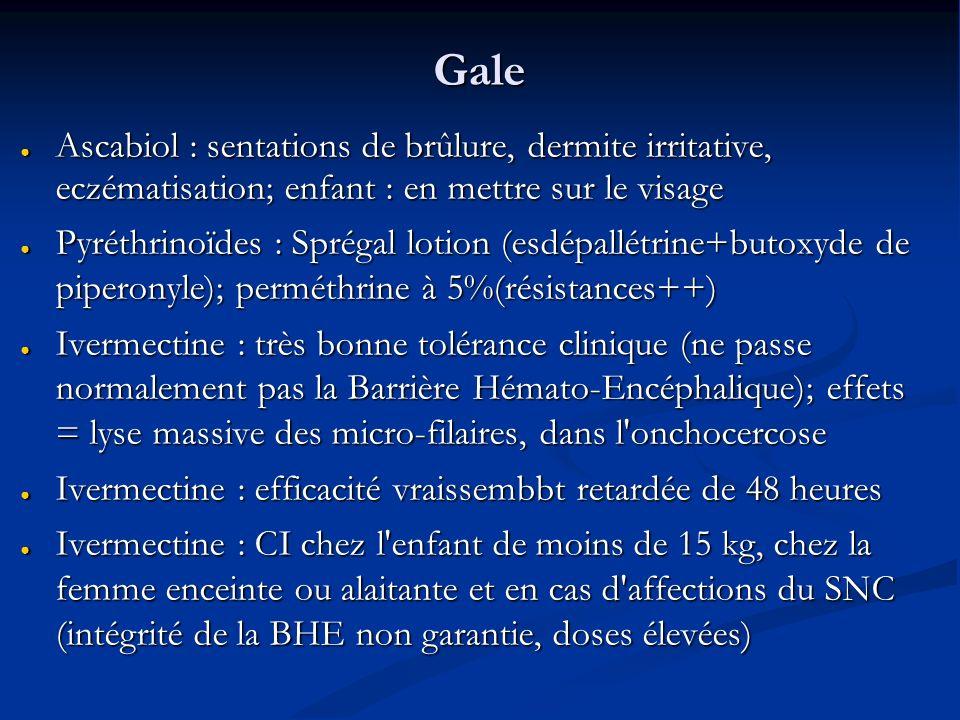 Gale Ascabiol : sentations de brûlure, dermite irritative, eczématisation; enfant : en mettre sur le visage.
