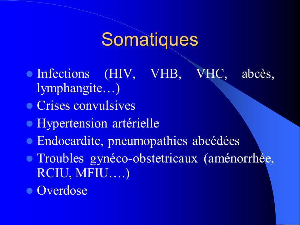 Somatiques Infections (HIV, VHB, VHC, abcès, lymphangite…)