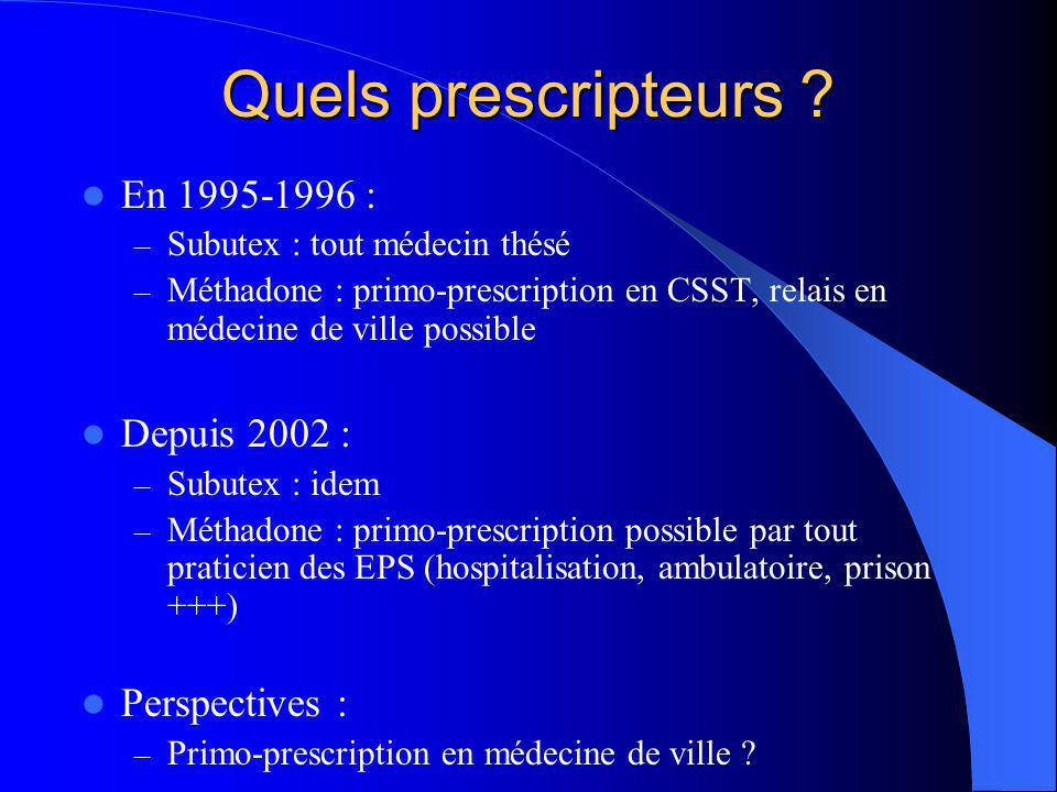 Quels prescripteurs En 1995-1996 : Depuis 2002 : Perspectives :