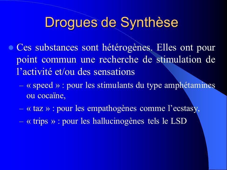 Drogues de SynthèseCes substances sont hétérogènes. Elles ont pour point commun une recherche de stimulation de l'activité et/ou des sensations.
