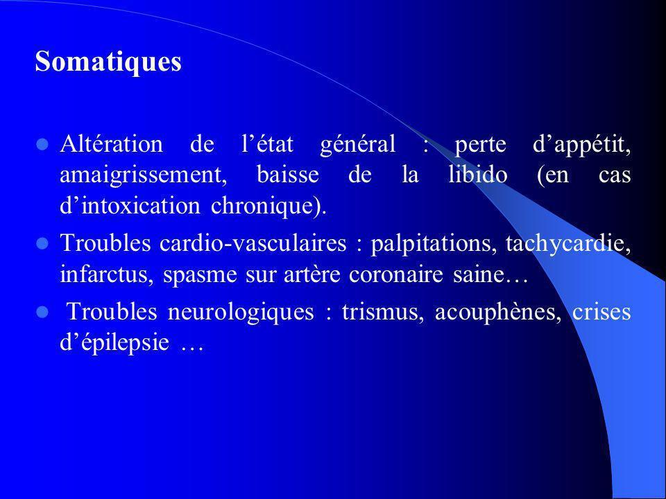 Somatiques Altération de l'état général : perte d'appétit, amaigrissement, baisse de la libido (en cas d'intoxication chronique).