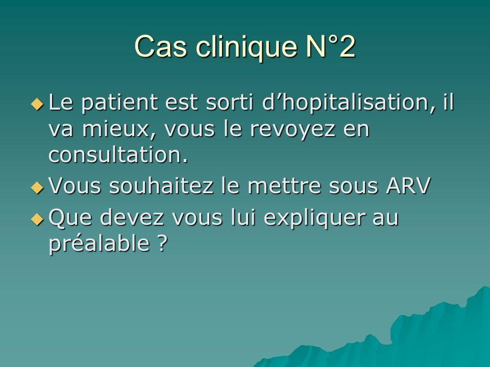 Cas clinique N°2 Le patient est sorti d'hopitalisation, il va mieux, vous le revoyez en consultation.