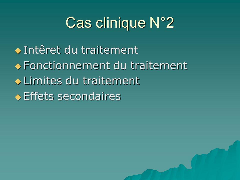Cas clinique N°2 Intêret du traitement Fonctionnement du traitement