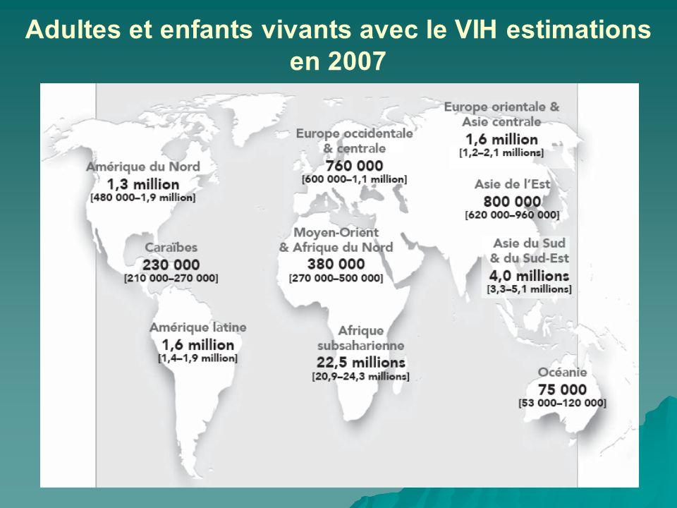 Adultes et enfants vivants avec le VIH estimations en 2007