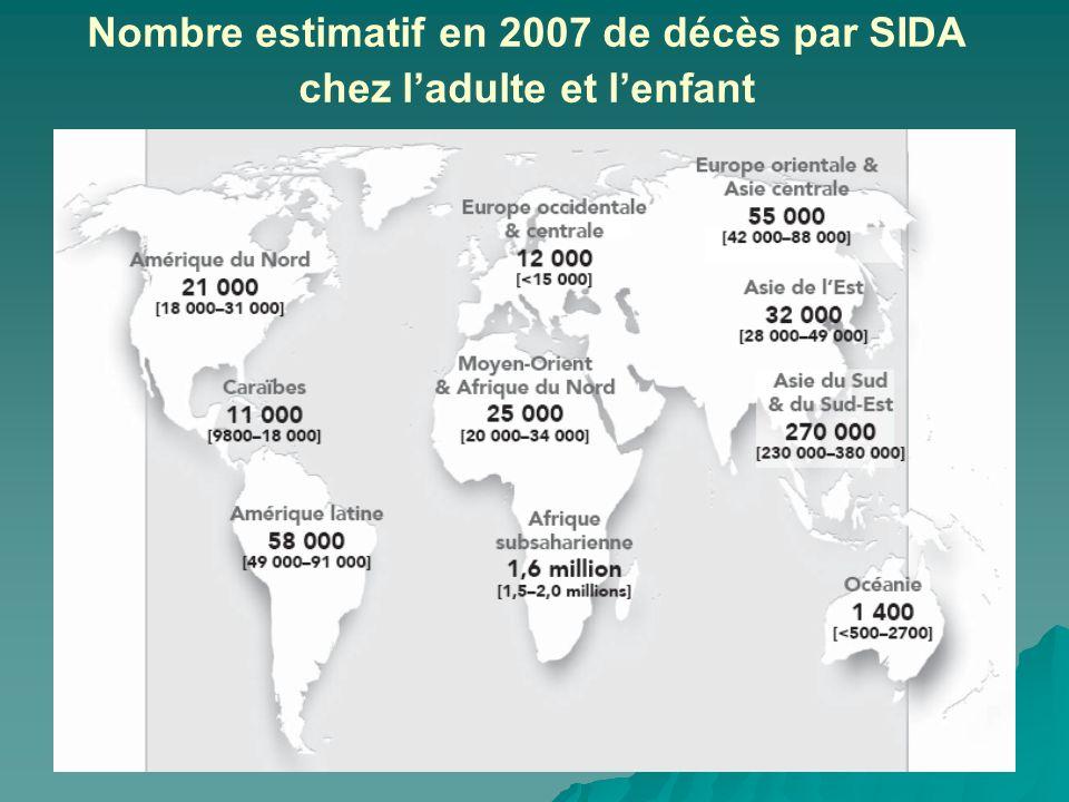 Nombre estimatif en 2007 de décès par SIDA chez l'adulte et l'enfant