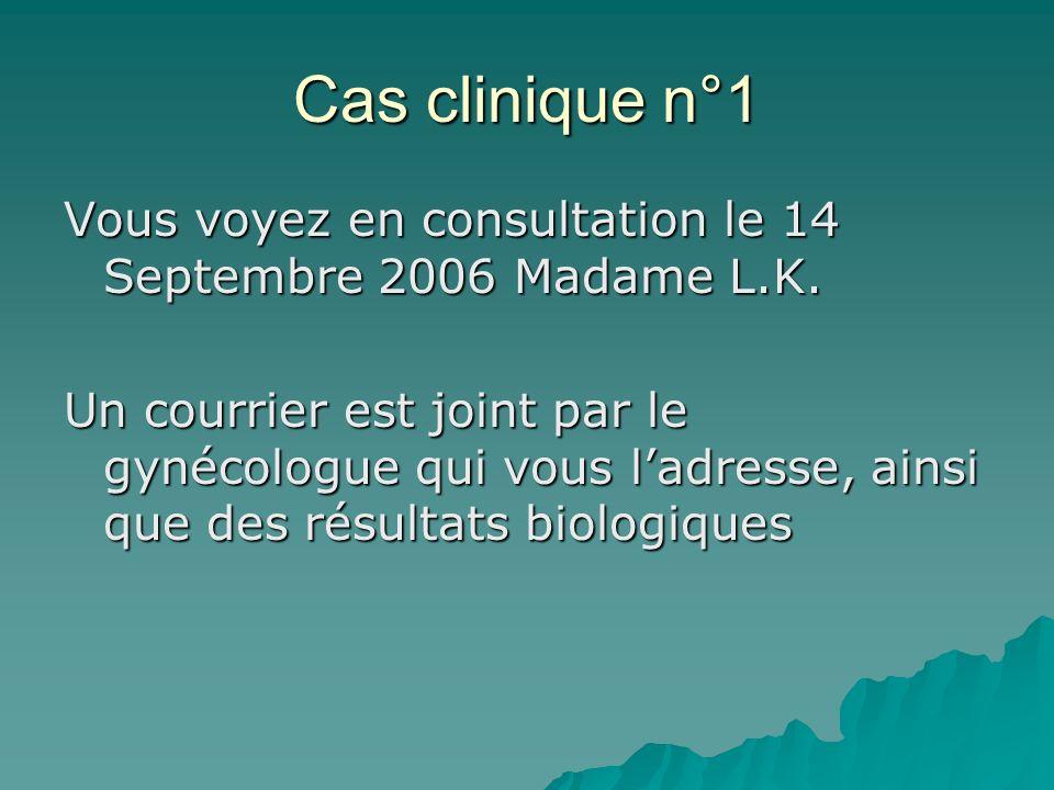 Cas clinique n°1 Vous voyez en consultation le 14 Septembre 2006 Madame L.K.