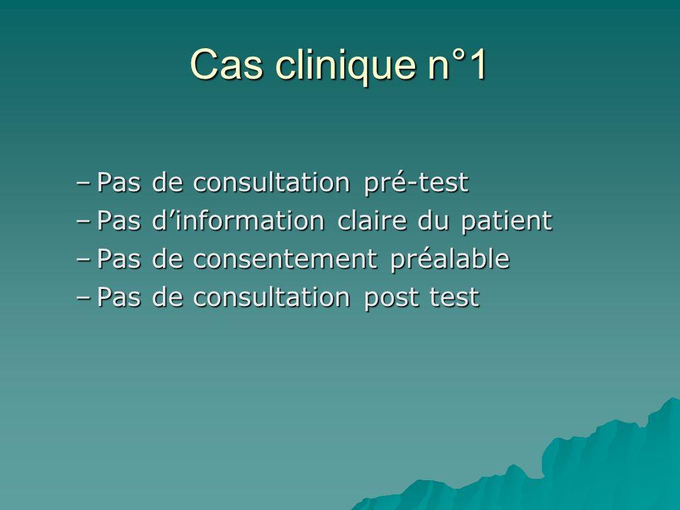 Cas clinique n°1 Pas de consultation pré-test