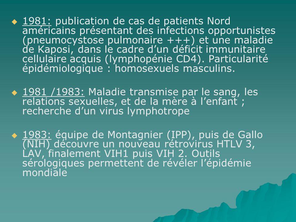 1981: publication de cas de patients Nord américains présentant des infections opportunistes (pneumocystose pulmonaire +++) et une maladie de Kaposi, dans le cadre d'un déficit immunitaire cellulaire acquis (lymphopénie CD4). Particularité épidémiologique : homosexuels masculins.