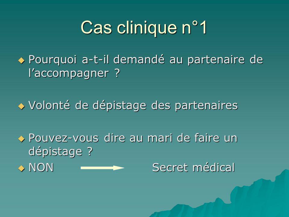 Cas clinique n°1 Pourquoi a-t-il demandé au partenaire de l'accompagner Volonté de dépistage des partenaires.