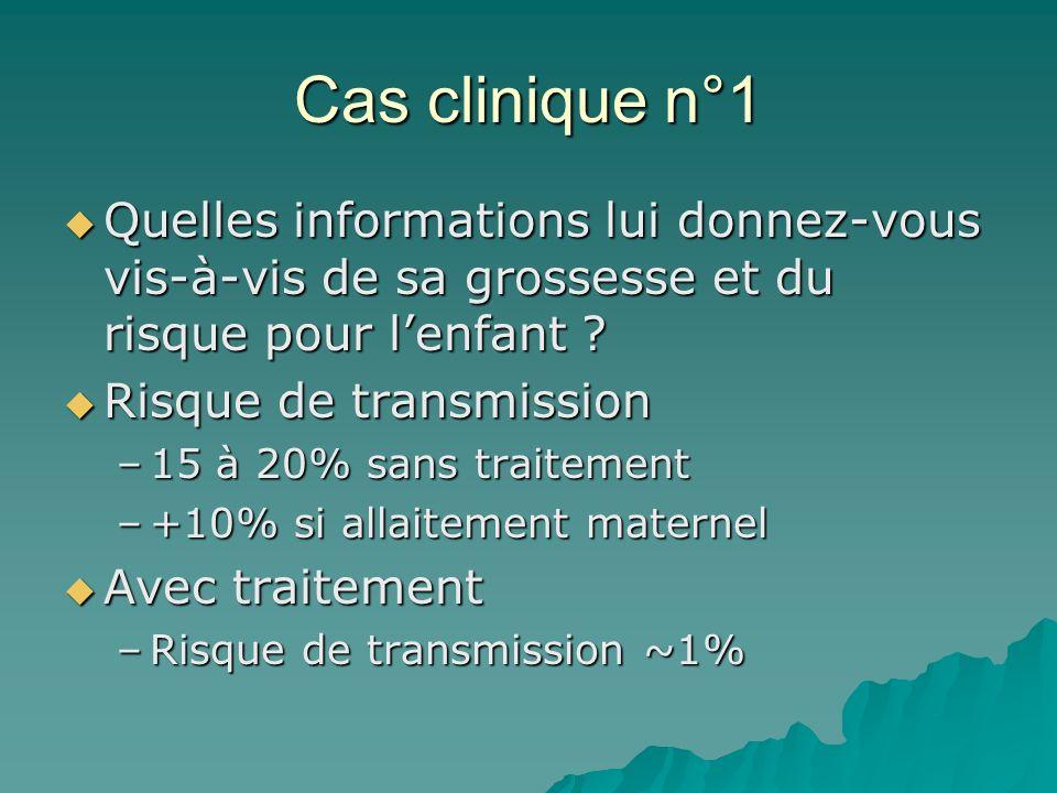 Cas clinique n°1 Quelles informations lui donnez-vous vis-à-vis de sa grossesse et du risque pour l'enfant
