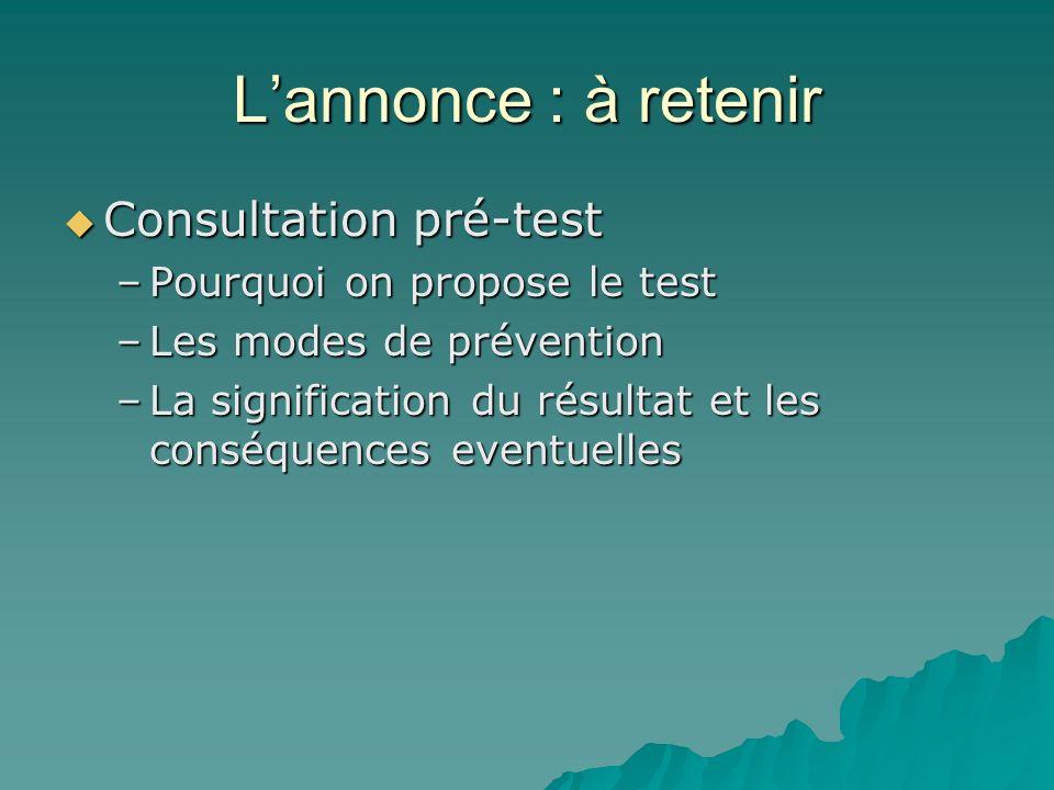 L'annonce : à retenir Consultation pré-test