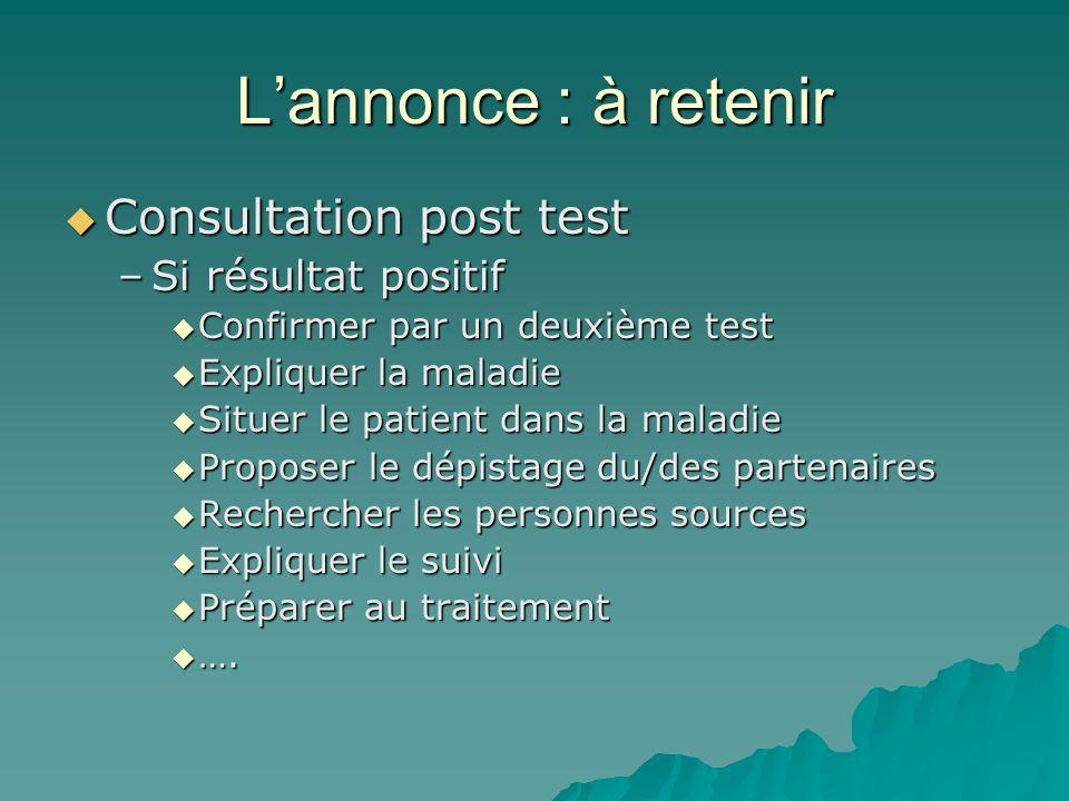 L'annonce : à retenir Consultation post test Si résultat positif