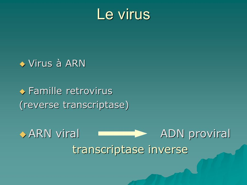 Le virus ARN viral ADN proviral transcriptase inverse Virus à ARN