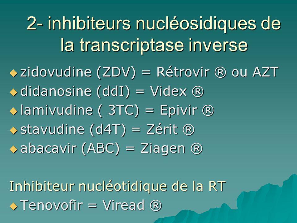 2- inhibiteurs nucléosidiques de la transcriptase inverse