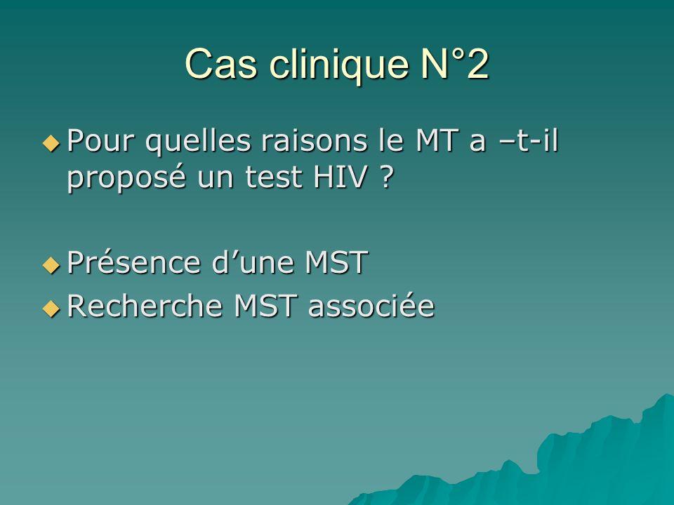 Cas clinique N°2Pour quelles raisons le MT a –t-il proposé un test HIV .