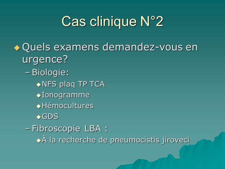 Cas clinique N°2 Quels examens demandez-vous en urgence Biologie:
