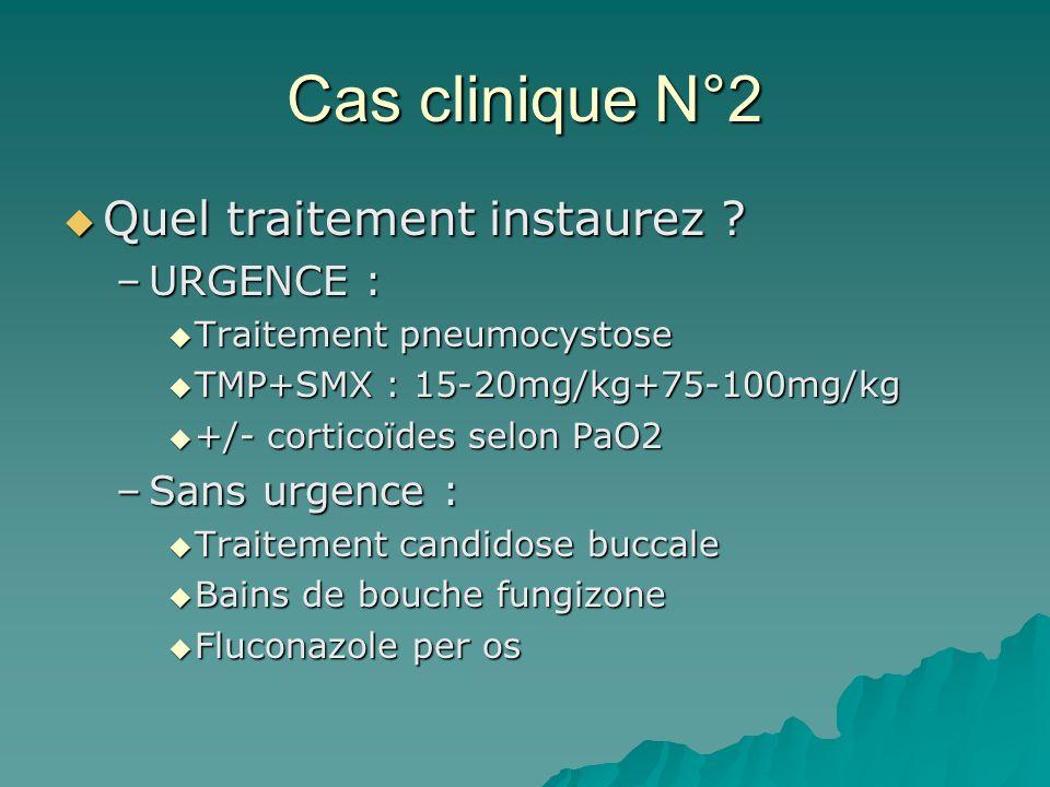 Cas clinique N°2 Quel traitement instaurez URGENCE : Sans urgence :